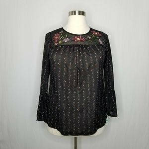 Style & Co Tops - Style & Co. Black Embroidered Yoke Sheer Blouse